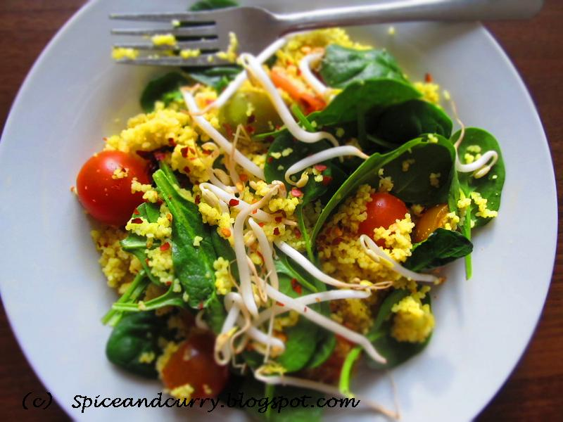 ... and Curry: Baby Spinach Bean Sprouts Cherry Tomatoes Couscous Salad