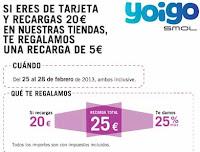 saldo extra gratis yoigo febrero 2013
