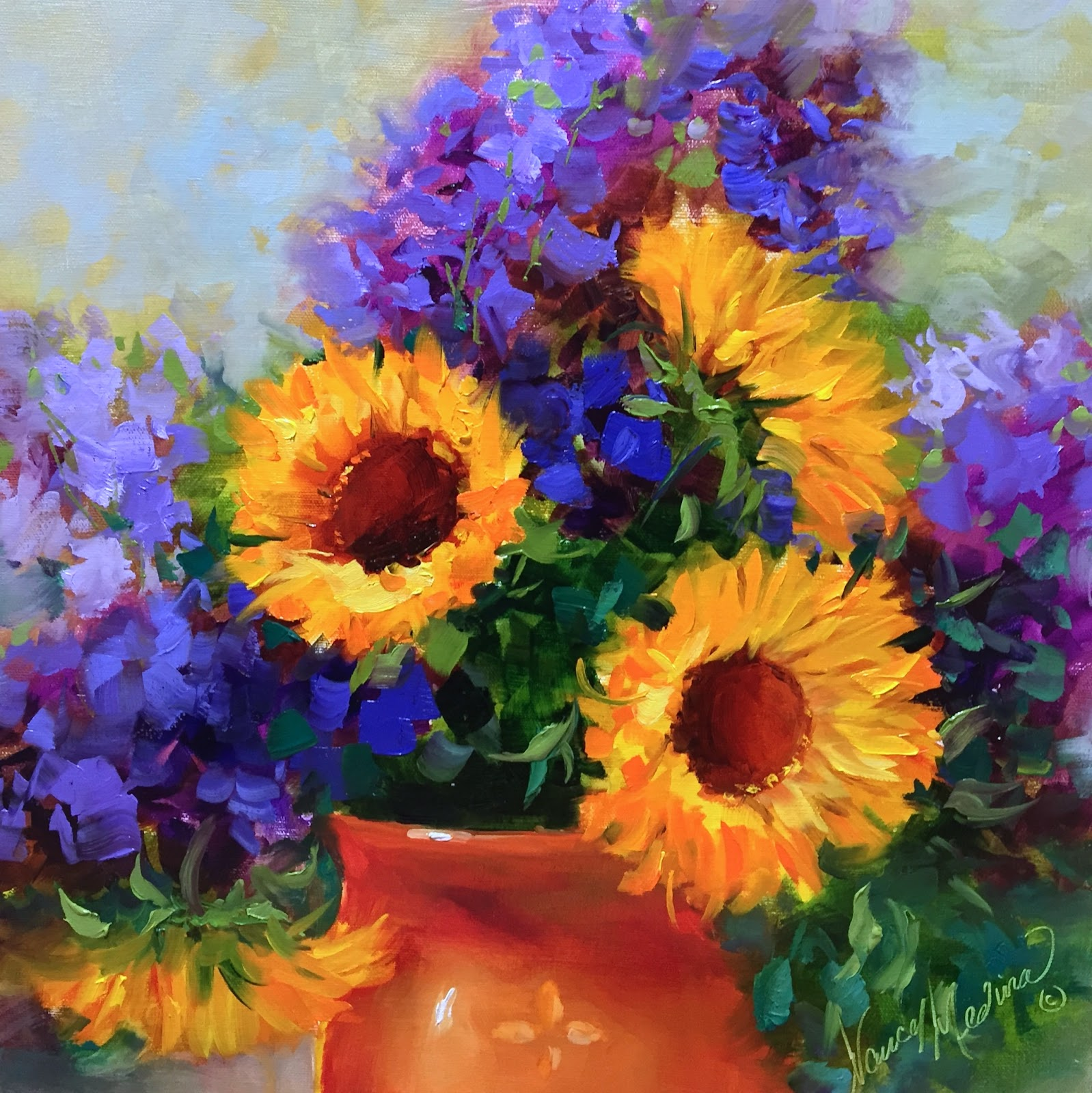 Nancy Medina Art Hothouse Sunnies and a Tuscany Workshop Flower Painting C