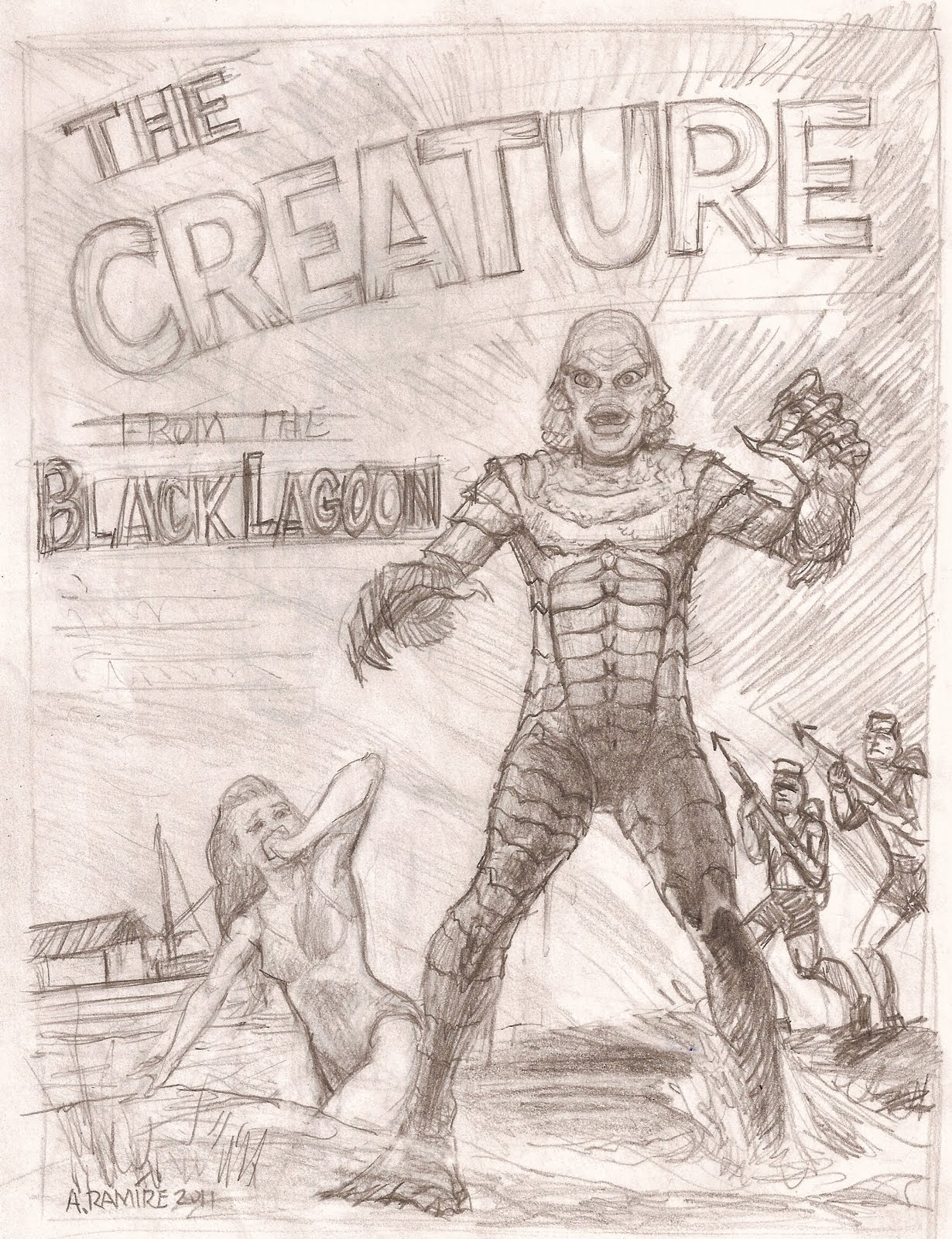 Free coloring pages of the from the lagoon for Creature from the black lagoon coloring pages