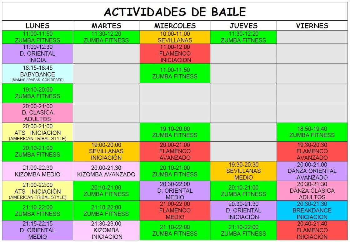ACTIVIDADES DE BAILE