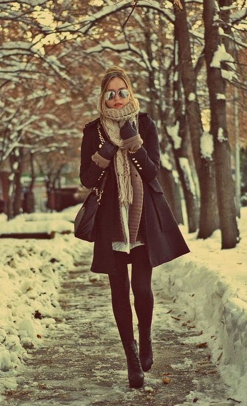 Who wears boots with heels in the winter are you asking to slip and die. But love this coat! This outfit would totally work.