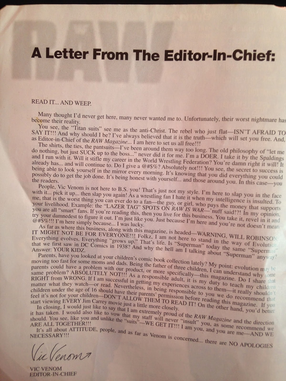 WWE - WWF Raw Magazine - January 1998 - Vic Venom wrote a letter as Editor in Chief