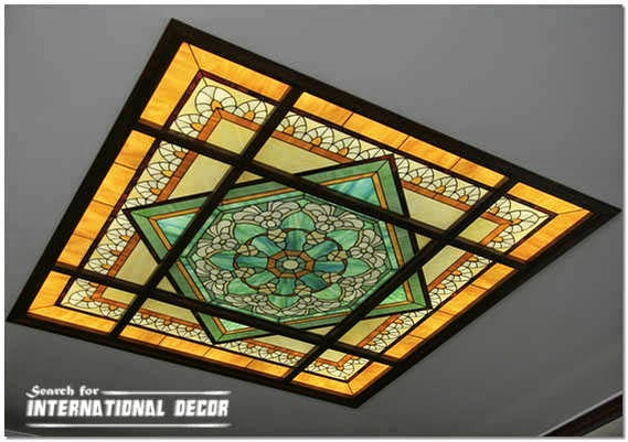 Stained glass ceiling designs and panels in the interior