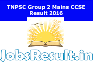 TNPSC Group 2 Mains CCSE Result 2016