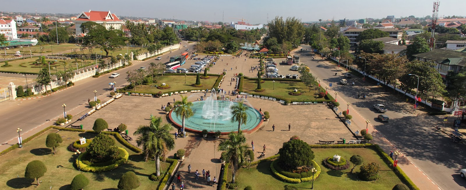 View from Patuxay monument over the city of Vientiane, Laos.