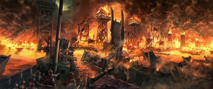 กองทัพเรือของโจโฉถูกเพลิงเผาผลาญวอดวาย