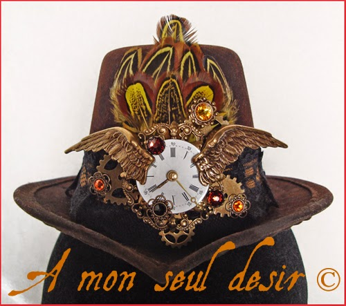 Mini Chapeau Steampunk Victorien Cadran Montre Gousset Ailes Rouages Pocket Watch Dial Victorian Hat Wings