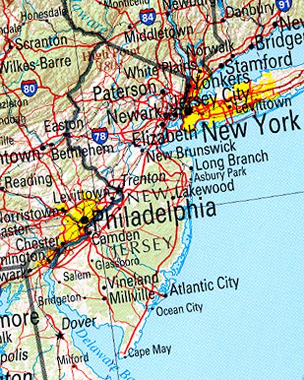 County somerset county mercer county sussex county union county warren - Kaart Noordoost Verenigde Staten Kaart New Jersey En