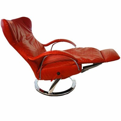 fauteuil rouge inclinable en cuir