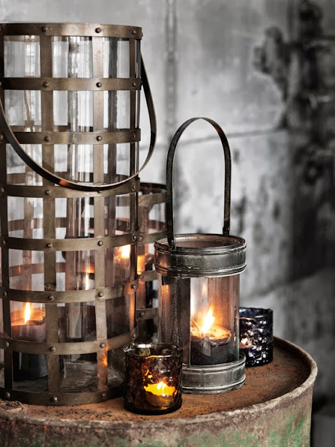 industrial intense, rustic candle holders
