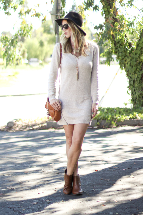 how to wear a sweater dress