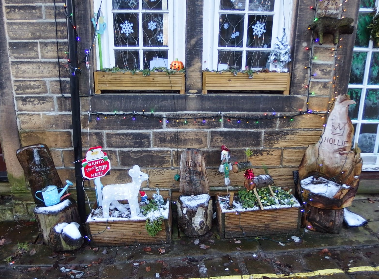 Festive arrangement on Haworth High Street, December 2014