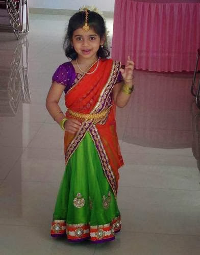 Cute Baby in Green Half Saree