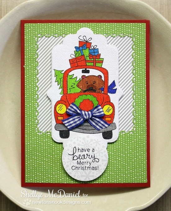 Beary Merry Christmas by Shelly McDaniel | Bear in Car Christmas Card | Stamps by Newton's Nook Designs