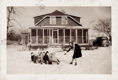 vintage sled ride photograph