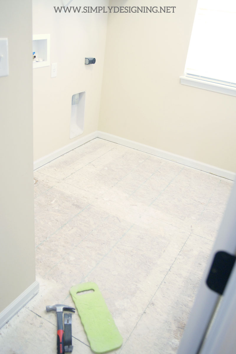 Hexagon laundry room tile thetileshop thetileshop wood sub floor a complete tutorial for how to demo prep install dailygadgetfo Images