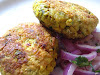 Spiced Chickpea Cakes with Red Onion and Cilantro Salad
