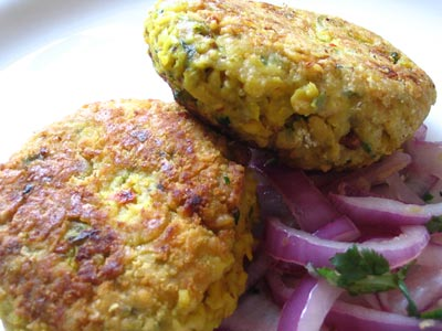 Delia's Spiced Chickpea Cakes with Red Onion and Coriander Salad