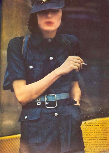 anjelica huston wears a button down shirt in vogue italia