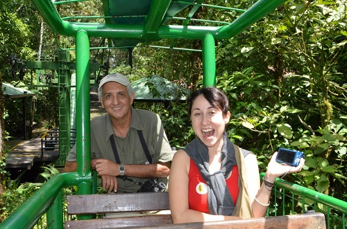 Emily Starbuck Crone of the Maiden Voyage Travel Blog rides the Costa Rica Atlantic Aerial Tram