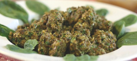 Mushroom and Spinach Fritters with Mint and Cheese