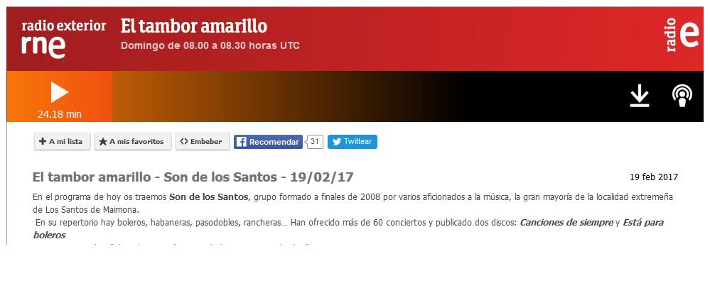 """SON DE LOS SANTOS en Radio Exterior de España: """"EL TAMBOR AMARILLO"""""""