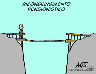 pensioni, lavoro, ricongiungimento, INPS, satira vignetta