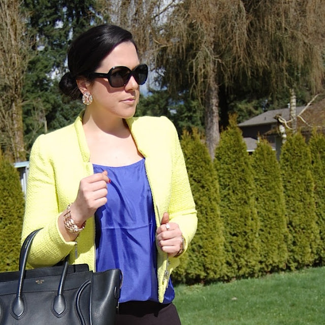 Neon Zara jacket, jewel toned Joe fresh silk tank and a Celine Mini Luggage