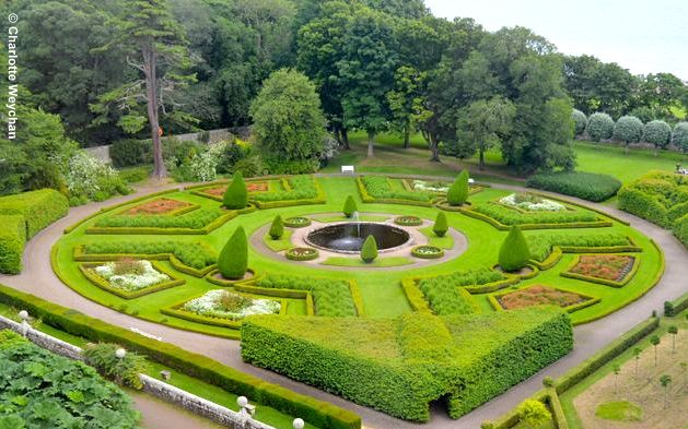 The Main Parterre At Dunrobin Viewed Through Windows Of Castle