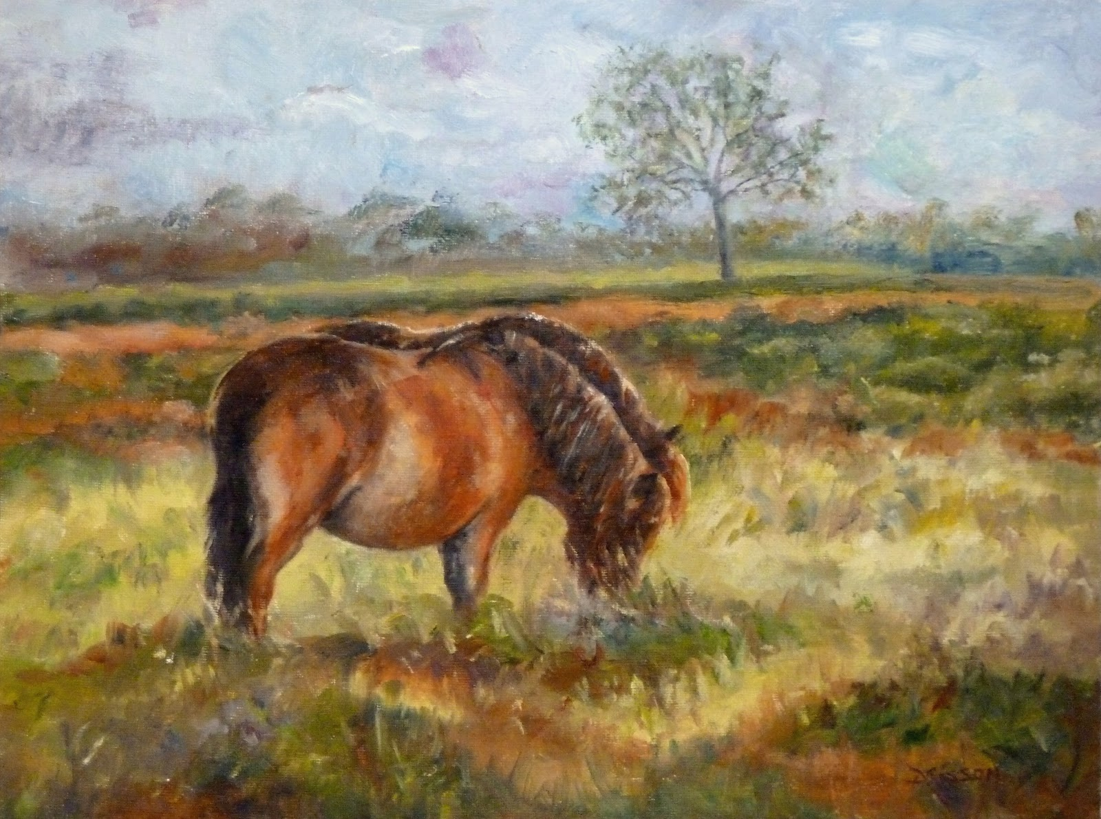 Daily painting projects grazing ponies oil painting horse for Animal oil paintings