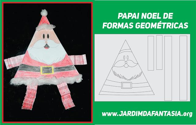 Bonequinho do Papai Noel feito com Formas Geométricas e Pernas e Braços Sanfonados