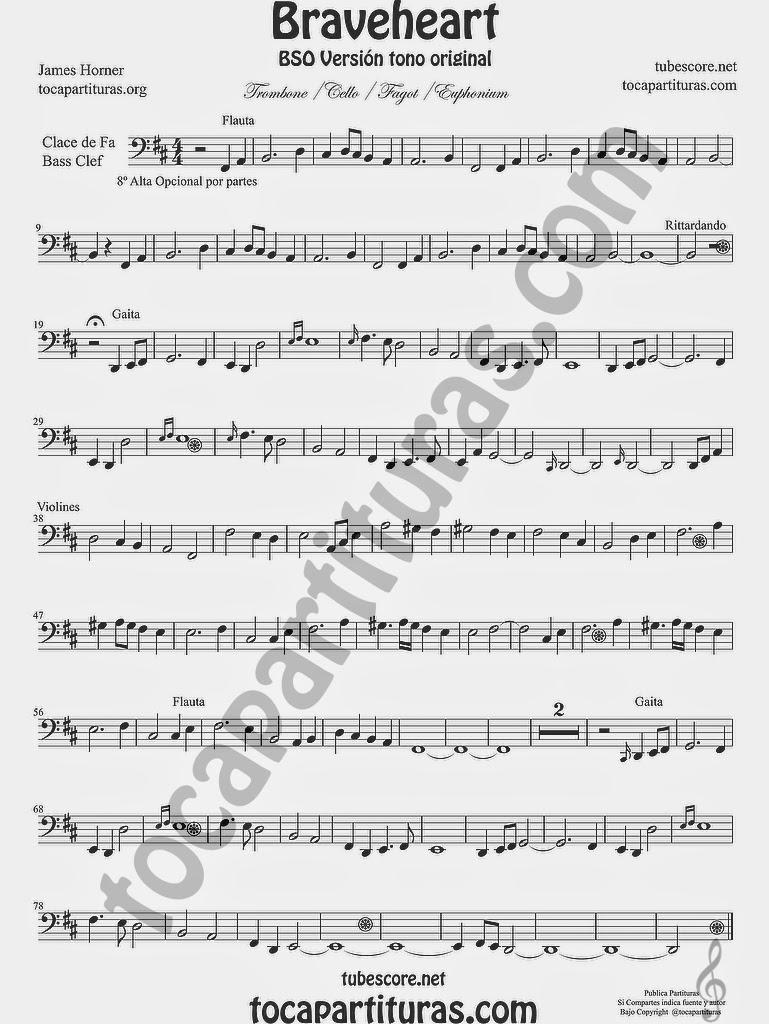 BraveheartPartitura de Trombón, Chelo, Fagot, Tuba Elicón, Bombardino, Fagot Partituras en Clave de Fa en 4º línea.