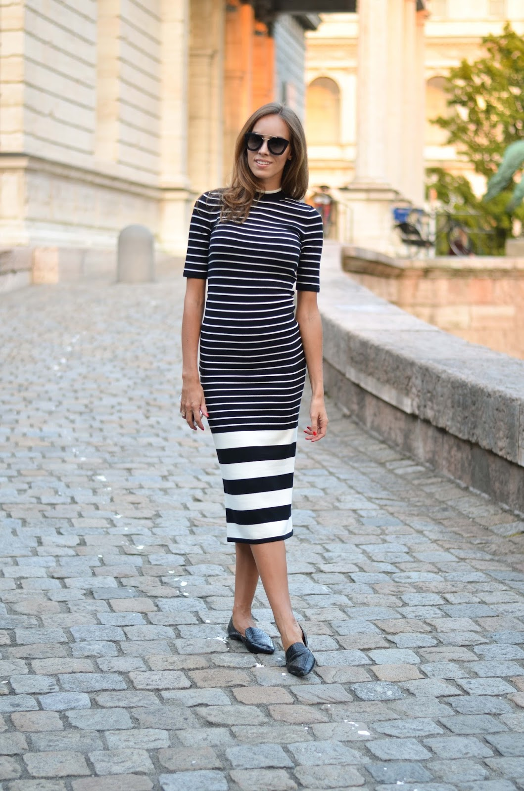 kristjaana mere fall fashion outfit striped knitted dress