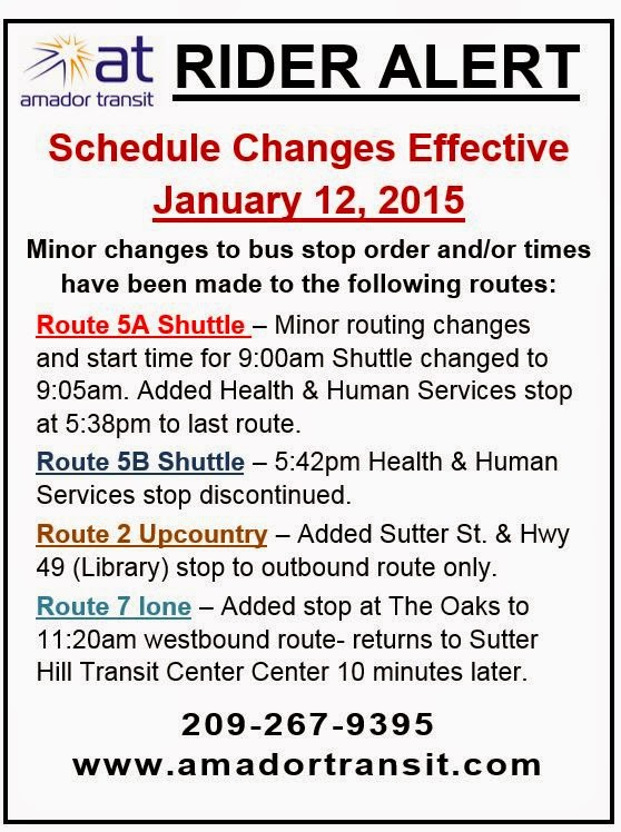 Rider Alert: Schedule change effective Jan 12