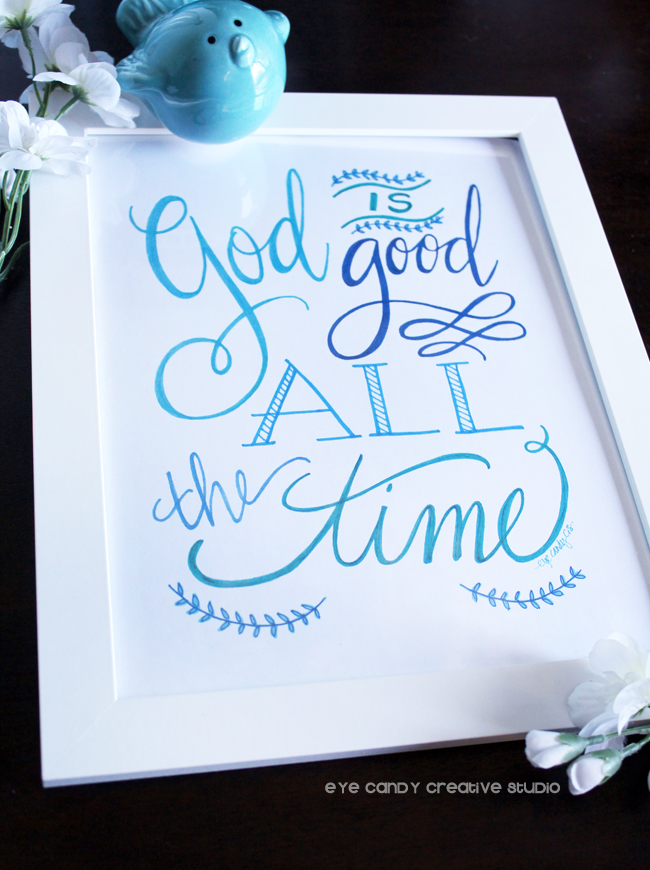 God is good, faith art prit, inspirational, shades of blue, christian art