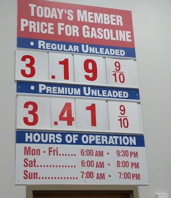 Costco gas for June 19, 2015 at Redwood City, CA