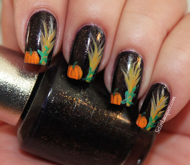 Halloween nail art - cornstalks and pumpkins
