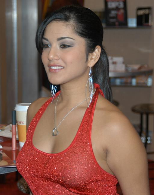 Sunny leone In red shirt