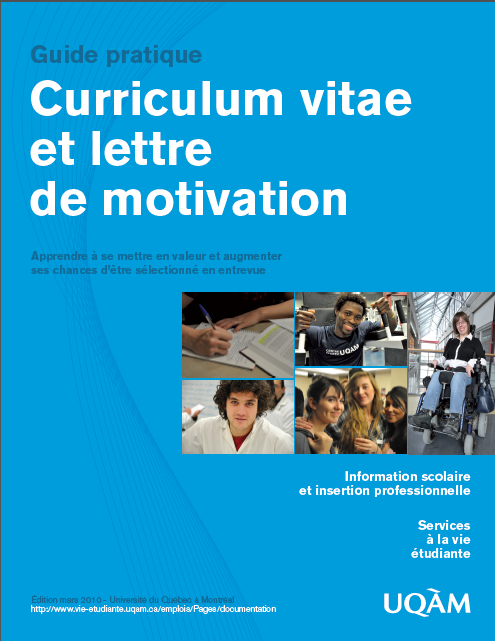 guide pratique curriculum vitae et lettre de motivation