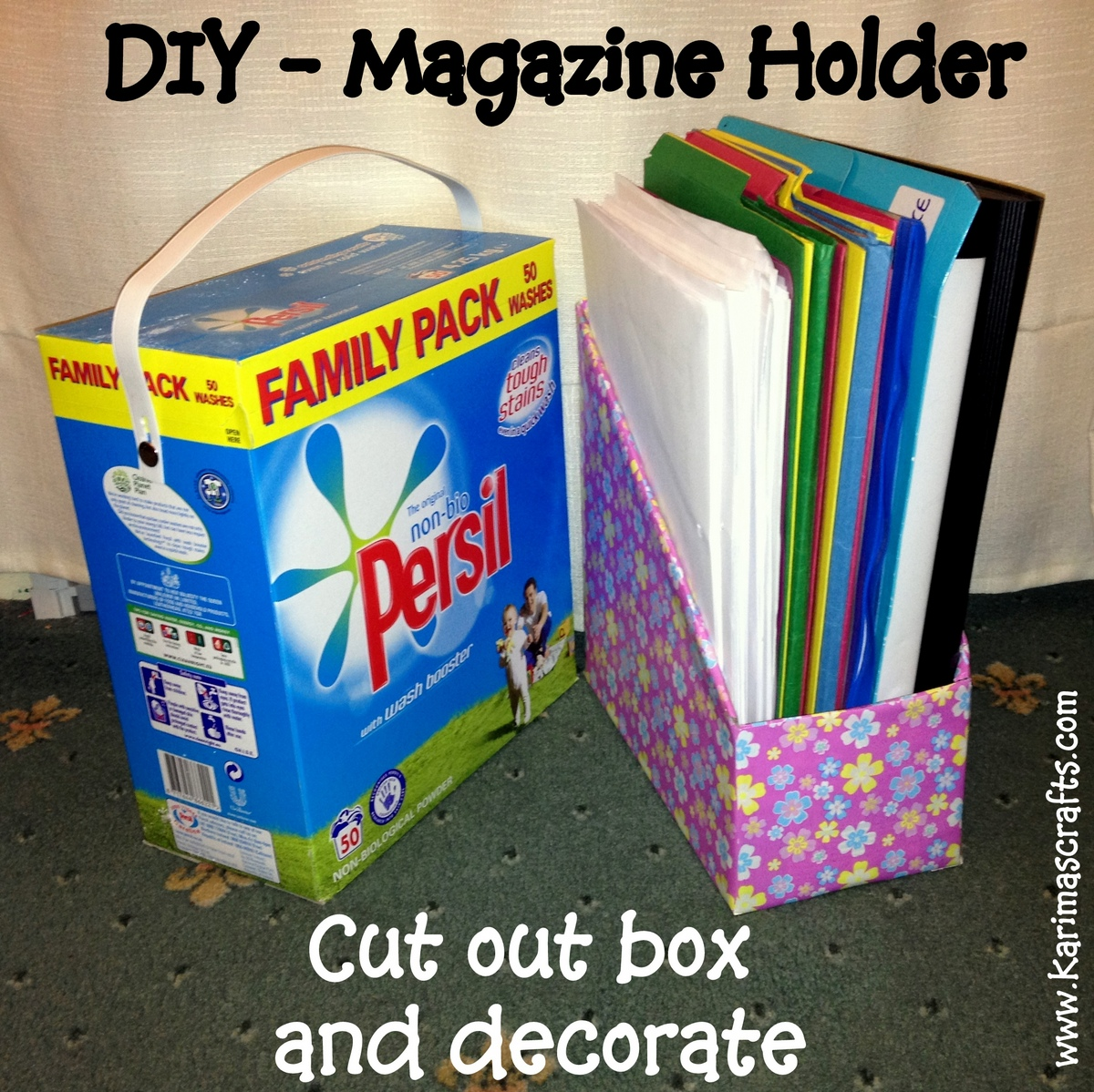 Magazine Holders are so easy to make with cardboard boxes from either detergent boxes or cereal boxes. Just cut the shape you want and decorate as you wish.  sc 1 st  Karimau0027s Crafts & Karimau0027s Crafts: DIY Magazine Holder - Great Ideas Aboutintivar.Com