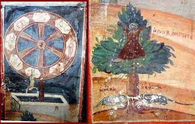 Ο τροχός και το δέντρο της ζωής στον Ιερό Ναό Αγίου Ιωάννου Προδρόμου στη συνοικία Απόζαρι της Καστοριάς. http://anagnostikon.blogspot.be/