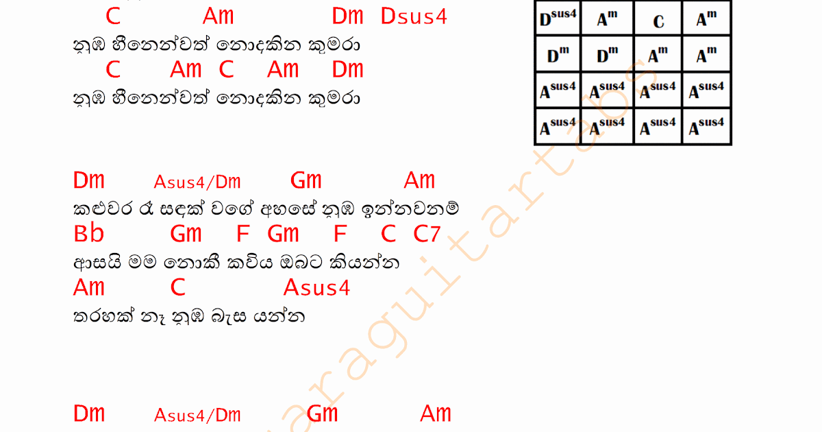 Sinhala Guitar Chords Songs Tabs Midi Picture To Pin On | Trends ...
