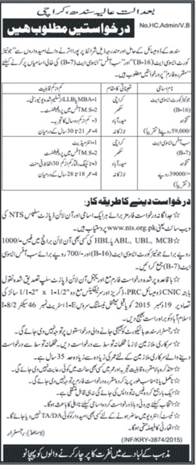 Court & Office associate Jobs in Sindh high Court Pakistan