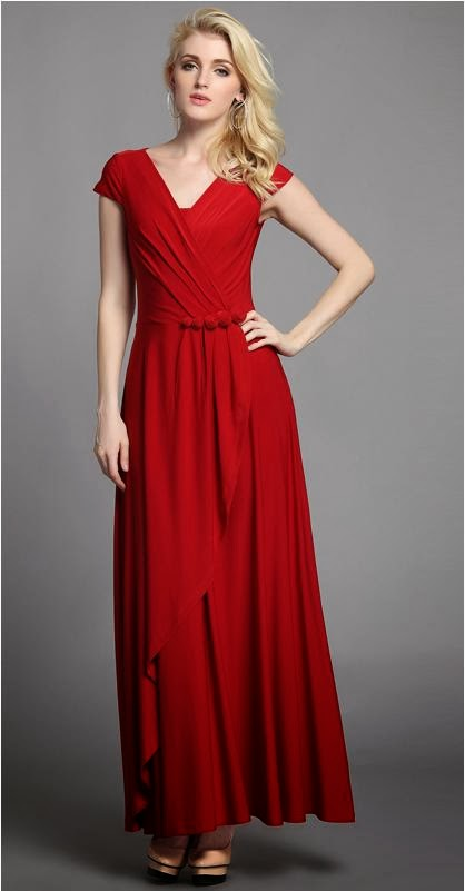 SALES! Red Short-sleeved Flower-decorated Hip Long Dress