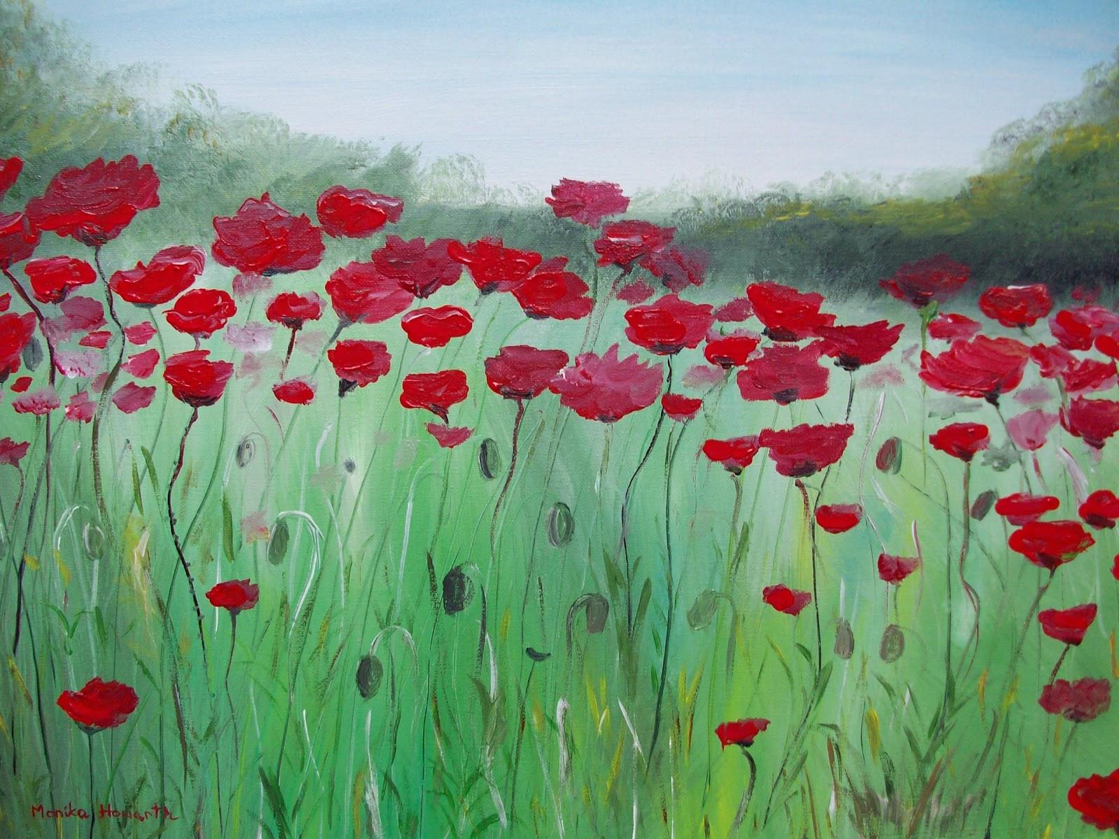 Monika howarth artbymonika for How to paint flowers with acrylics on canvas