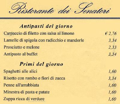 Un piccolo esempio dei prezzi applicati nel ristorante di Montecitorio …