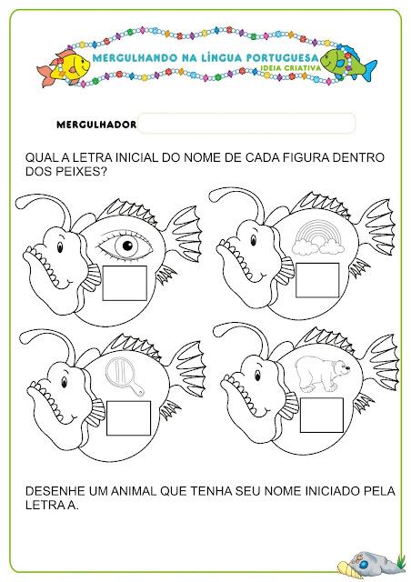 Caderno de Atividades Língua Portuguesa  Projeto no Fundo do Mar grátis para imprimir