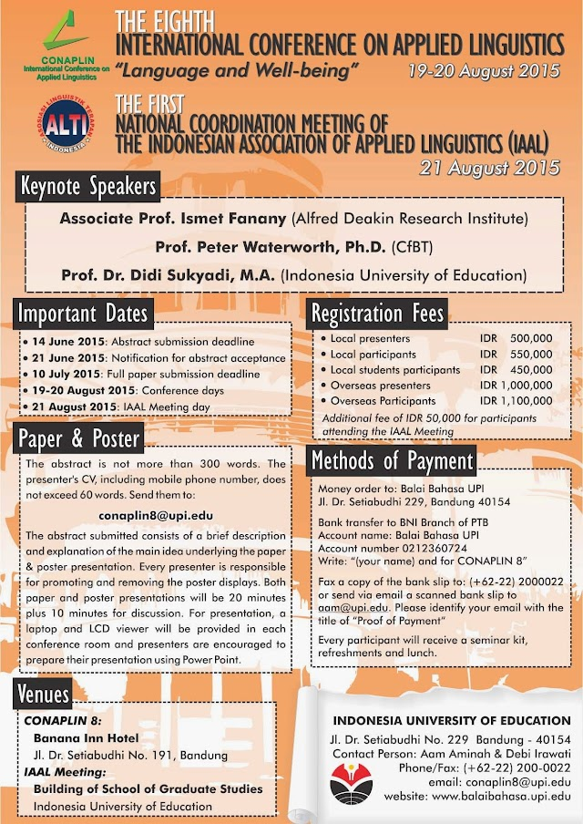 Call for Papers : the Eight International Conference on Applied Linguistics and the first National Coordination Meeting of IAAL 2015