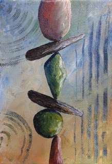 Rock cairn painting, It's All About Balance,  by Pamela Hunt Lee